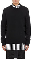 Givenchy Men's Brooch-Embellished Distressed Wool-Blend Sweater
