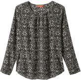 Joe Fresh Women's Print Silk Blouse, Black (Size M)