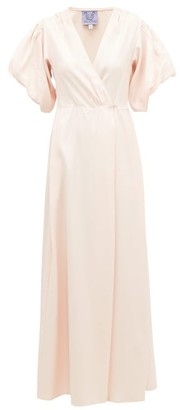 Thierry Colson Marieke Puff-sleeved Silk-twill Wrap Dress - Pink