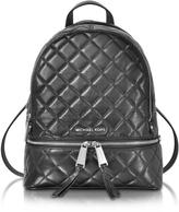 Michael Kors Rhea Zip Black Quilted Leather Medium Backpack