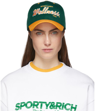 Sporty And Rich Sporty and Rich Green and Yellow Sports Logo Cap