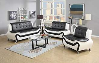 US Pride Furniture 3 Piece Modern Bonded Leather Sofa Set with Sofa