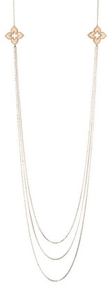 Roberto Coin Venetian Princess 18K Rose Gold White Gold Diamond Station Long Triple-Strand Necklace