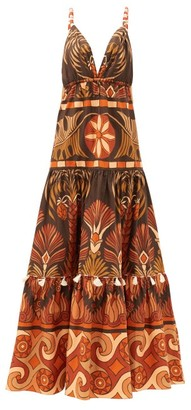 Johanna Ortiz Neptunian Geometric-print Cotton-poplin Maxi Dress - Brown Multi