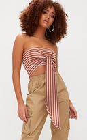 PrettyLittleThing Bronze Stripe Bandeau Bow Front Multiway Crop Top