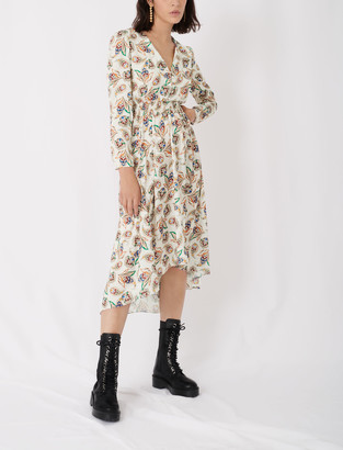 Maje Printed satin dress with smocking