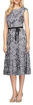 Alex Evenings Cap Sleeve Belted Rosette Tea-Length Dress