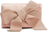 Oscar de la Renta Bow-embellished Satin Clutch - Blush
