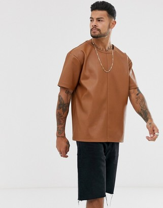 Another Influence PU faux leather t-shirt-Brown