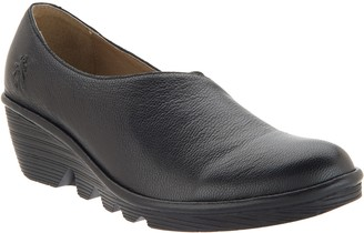 Fly London Leather Low Wedges - Peso