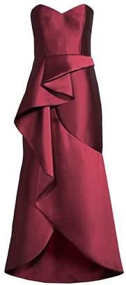 Parker Black Lulu Cascading Ruffle Strapless Satin Gown