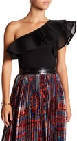 Gracia One Shoulder Mesh Ruffle Bodysuit