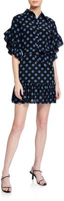 Michael Kors Dotted Ruffle-Sleeve Shirtdress with Sash