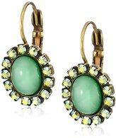 "Liz Palacios Piedras"" Green Swarovski Crystallized and Cabochon Earrings"