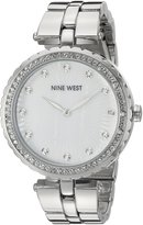 Nine West Women's NW/1741WMSB Swarovski Crystal Accented Silver-Tone Bracelet Watch