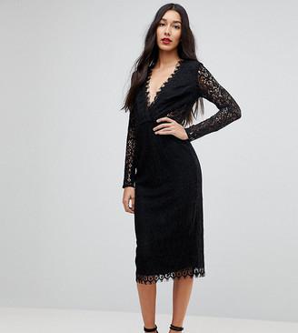 Asos Tall TALL Long Sleeve Lace Midi Pencil Dress-Black