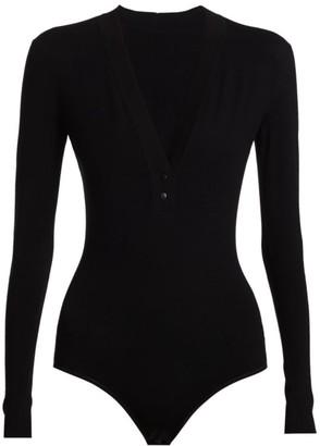 Alaia Plunging V-Neck Long-Sleeve Bodysuit