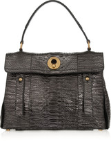Yves Saint Laurent Muse Two Small metallic python tote