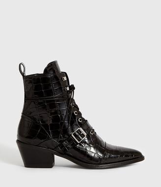 AllSaints Katy Crocodile Boot