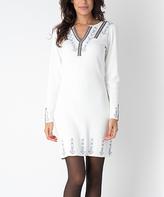 Yuka Paris Ivory & Black Geometric-Trim Notch Neck Dress