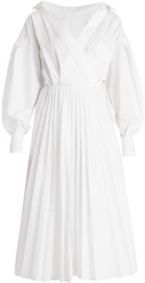 Valentino Poplin Puff-Sleeve Pleated Shirtdress