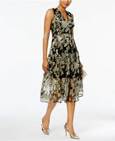 Vince Camuto Floral-Sequined Fit and Flare Midi Dress