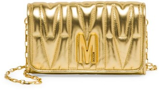 Moschino Embossed Metallic Leather Wallet-On-Chain