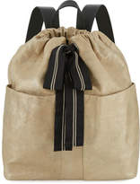 Brunello Cucinelli Glitter Leather Backpack with Monili Ribbon
