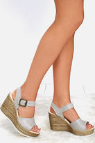 Sbicca Alcina Stone Grey Leather Platform Wedges