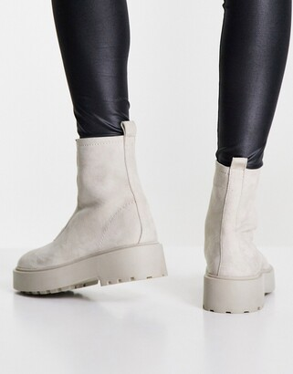 ASOS DESIGN Ava leather front zip boots in taupe suede