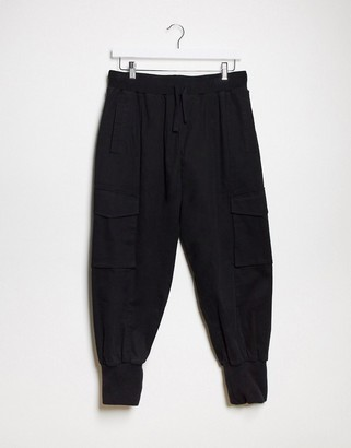 ASOS DESIGN oversized drop crotch trousers with cargo pockets & jersey cuffs