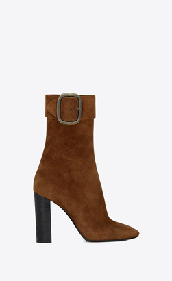 Saint Laurent Heel Booties Joplin Buckle Booties In Suede Toffee 3