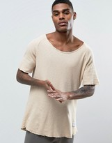 Criminal Damage Waffle Knitted Relaxed Fit T-Shirt in Nude