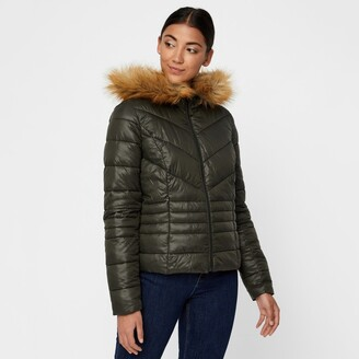 Vero Moda Padded Jacket with Faux Fur Hood and Pockets