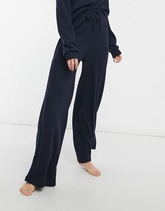 Chelsea Peers jersey rib lounge wide leg pants in navy