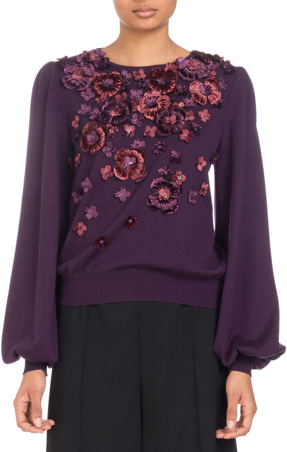 Andrew Gn Blouson-Sleeve Knit Sweater with Floral Appliques