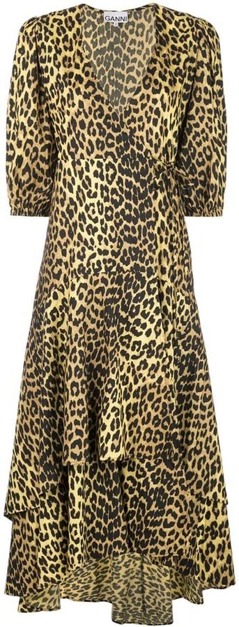 Ganni Minion leopard print wrap dress