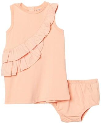 Habitual Mixed Fabric Ruffle Dress