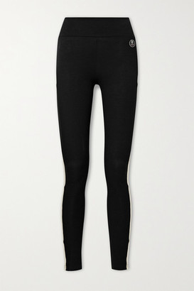 WE NORWEGIANS Voss Striped Merino Wool-blend Pique Leggings - Black