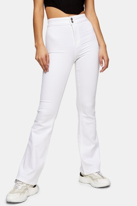 Topshop Womens Three Stretch Flare Jeans - White