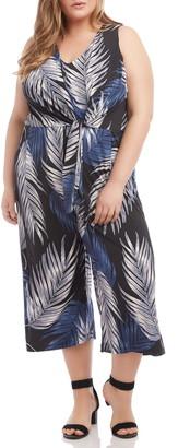 Karen Kane Palm Print Tie Front Wide Leg Crop Jumpsuit