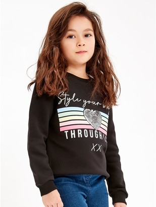 M&Co Two way sequin slogan sweatshirt (3-12yrs)