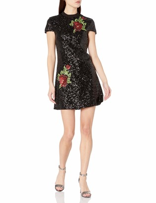 Bebe Women's All Over Sequin T Shirt Dress with Rose Applique