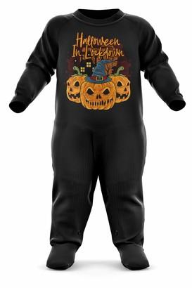 Purple Print House Halloween in Lockdown Baby Romper Suit 0-3 Months
