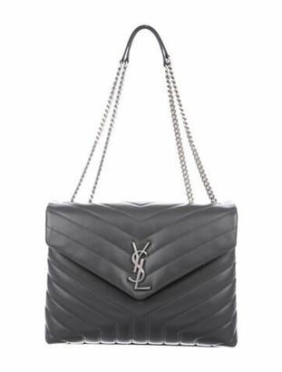 Saint Laurent Monogram Quilted LouLou Medium Chain Bag Grey