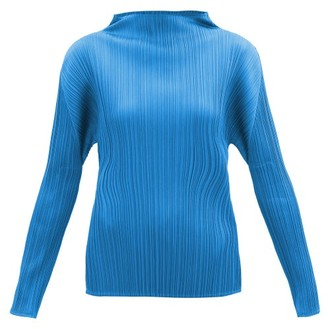 Pleats Please Issey Miyake High-neck Technical-pleated Top - Blue