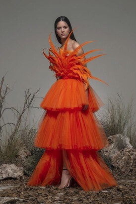 Isabel Sanchis Bonito Feathered Tiered Gown