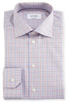 Eton Contemporary-Fit Plaid Dress Shirt, Orange