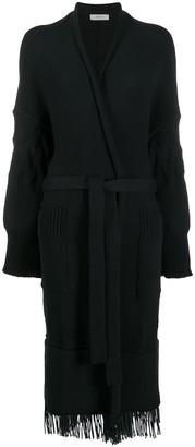 Áeron Frayed-Trim Belted Cardi-Coat