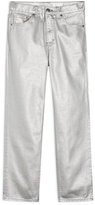 Topshop Silver Foil High Waist Straight Leg Jeans